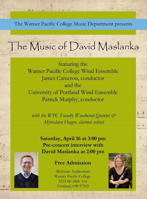 David Maslanka concert at Warner Pacific