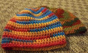Crocheted hats; WPC student crocheted hats for charity 2016 (K. Hilman)