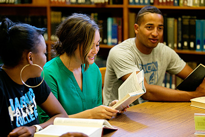 Warner Pacific students in the library