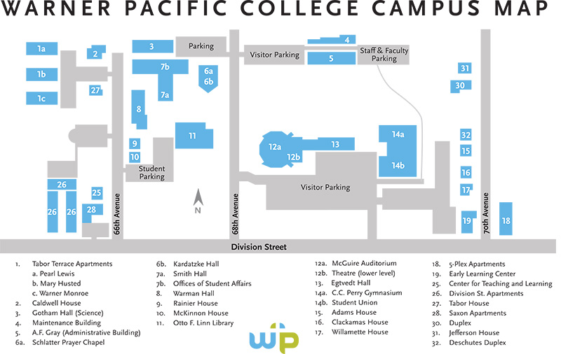 Warner Pacific Campus Map 2016