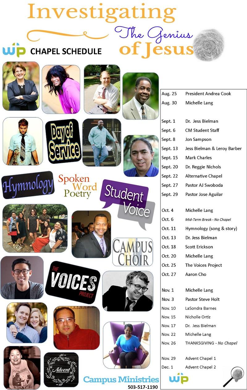 Fall 2016 Warner Pacific chapel schedule