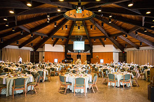 McGuire Auditorium with banquet set up