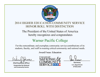 Presidential Award of Distinction for Warner Pacific 2014