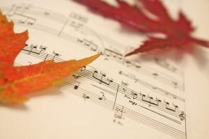 Autum leaves on sheet music