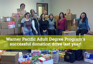 Warner Pacific ADP successful donation drive for Take Action in 2014