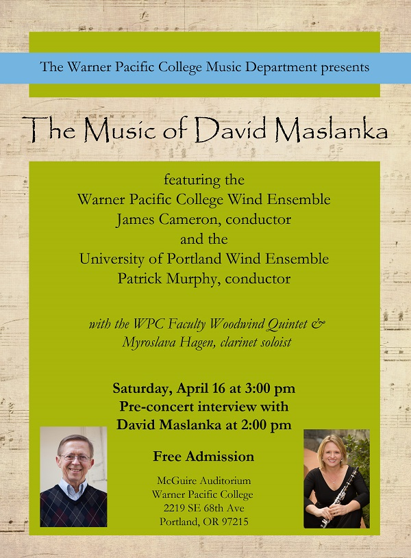 David Maslanka concert at Warner Pacific