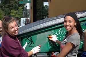 Warner Pacific students volunteering in the city
