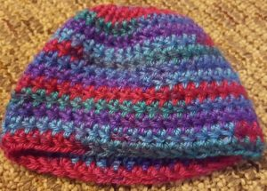 Crocheted baby hat; WPC Student Crocheted hats for charity 2016 (K Hilman)